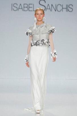 Isabel Sanchis White Floral Applique Evening Gown