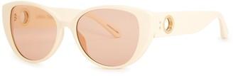 Linda Farrow Luxe Sarandon Ivory Cat-eye Sunglasses