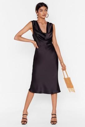 Nasty Gal Womens Can We Dance Cowl Midi Dress - Black