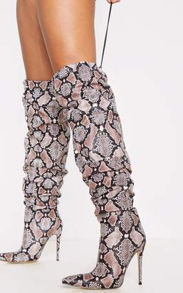 PrettyLittleThing Black Thigh High Slouch Point Boot