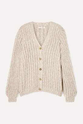 The Row Seilde Oversized Ribbed Cashmere And Silk-blend Cardigan - Beige
