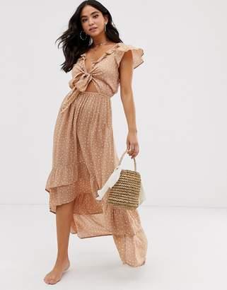 White Cabana polka dot beach dress-Beige