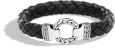 John Hardy Men's Classic Chain 12MM Ring Clasp Bracelet in Sterling Silver and Leather