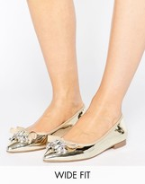 Asos LUCA Wide Fit Embellished Ballet Flats