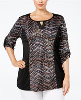 NY Collection Plus Size Keyhole Printed Top