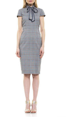 Alexia Admor Carolina Plaid Neck Tie Sheath Dress