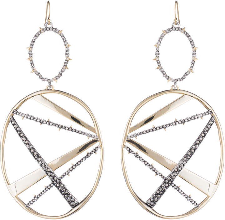 Alexis Bittar Crystal Encrusted Large Plaid Drop Earring