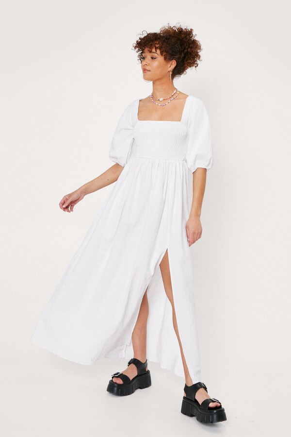 Womens Puff Sleeve Shirred Maxi Dress - White