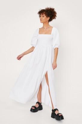 Nasty Gal Womens We Be-sleeve in You Shirred Maxi Dress - White - 6, White