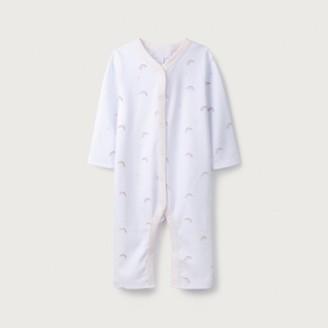 The White Company Rainbow Print Sleepsuit, White, 12-18mths