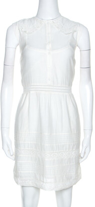 Zadig and Voltaire White Cotton Lace Detail Sleeveless Dress S
