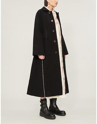 Renli Su Raglan-sleeve flared cotton coat