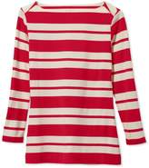 L.L. Bean Signature Cotton/Modal Top, Three-Quarter Sleeve Boatneck Double-Bar Stripe