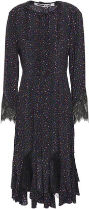 McQ Lace-paneled Ruffle-trimmed Pintucked Floral-print Silk Crepe De Chine Dress