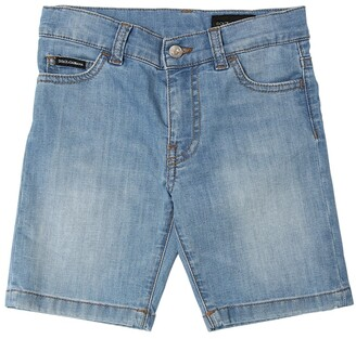 Dolce & Gabbana Logo Tag Stretch Cotton Denim Shorts