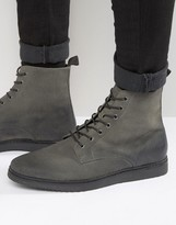 Asos Lace Up Boots In Grey