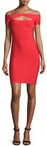 Herve Leger Off-the-Shoulder Cutout Dress, Coral Poppy