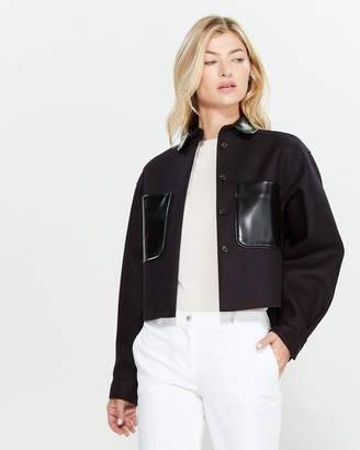 Jil Sander Navy Navy & Black Long Sleeve Wool-Blend Shirt