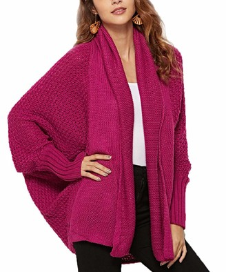 Yuson Girl Women Casual Open Front Long Sleeve Chunky Knit Cardigan Sweater Loose Baggy Wrap Cardigan Oversized Batwing Cardigans Cape for Ladies Hot Pink