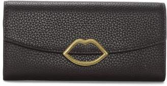 Lulu Guinness Lip Trisha Purple Grainy Leather Wallet