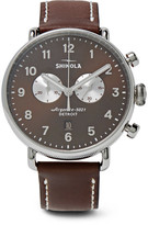 Shinola Canfield Chronograph 43mm Stainless Steel And Leather Watch - Brown