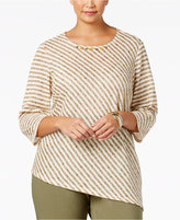 Alfred Dunner Plus Size Cactus Ranch Collection Striped Asymmetrical Top