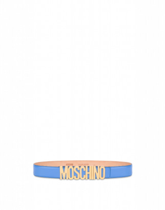 Moschino Belt In Leather With Logo Woman Blue Size 38 It - (4 Us)