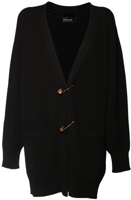 Versace Wool Knit Cardigan W/ Safety Pins