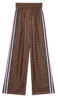 Burberry Women's Monogram Seighford Silk Track Pants