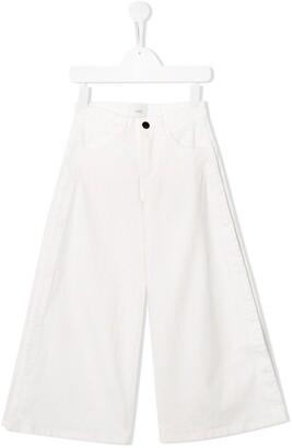 Fendi Kids Snap Fastening Wide Leg Jeans