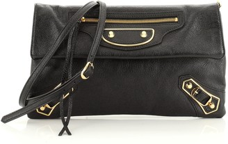 Balenciaga Classic Metallic Edge Envelope Strap Clutch Leather