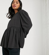 Asos DESIGN Petite smock with blouson long sleeve and tie back