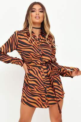 I SAW IT FIRST Red Tiger Print Shirt Dress