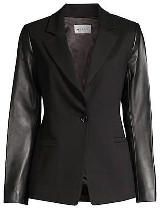 Milly Leather-Sleeve Blazer