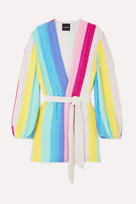 retrofete Gabrielle Striped Velvet-trimmed Sequined Chiffon Mini Wrap Dress - Pink