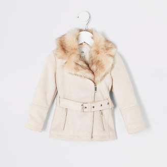River Island Mini girls Cream faux suede belted jacket