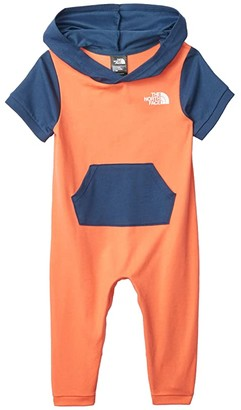 The North Face Kids French Terry Hooded One-Piece (Infant) (Miami Orange) Girl's Jumpsuit & Rompers One Piece