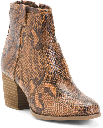 Stacked Heel Snake Booties