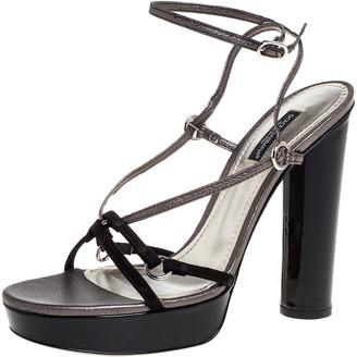 Dolce & Gabbana Black Suede And Metallic Grey Leather Strappy Block Heel Platform Sandals Size 37.5