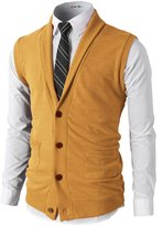 H2H Mens Casual Basic Shawl Collar Knitted Slim Fit Lightweight Vest MUSTARD US XL/Asia XXL (CMOV034)