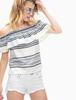 Splendid Traveler Stripe Ruffle Top