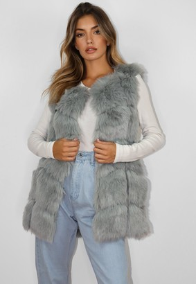 Missguided Tall Grey Faux Fur Bubble Gilet
