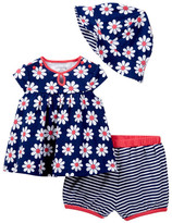 Offspring Flower Top, Short, & Hat Set (Baby Girls 3-9M)