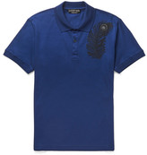 Alexander McQueen Slim-fit Embroidered Cotton-piqué Polo Shirt - Blue