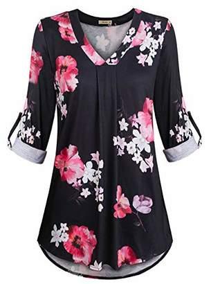 Women's Casual 3/4 Cuffed Sleeve V Neck Flower Print Tunic Blouse Shirt Tops