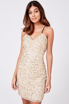 Little Mistress Luxury Cassidy Gold Hand-Embellished Mini Dress