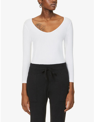 James Perse Ribbed stretch-cotton jersey top