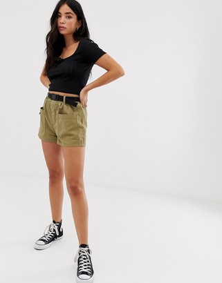 New Look utility short with belt in khaki-Black