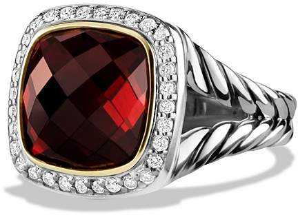 David Yurman Albion Ring with Garnet and Diamonds with 18K Gold