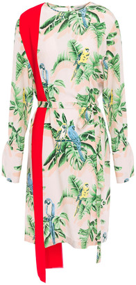 Stella McCartney Belted Printed Silk Crepe De Chine Dress